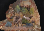 Bull Elk and his girls painted on Picture Jasper